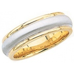 14k 2-Tone Gold Wedding Band with Brushed Center & Milgrain 7mm: Size 11.5