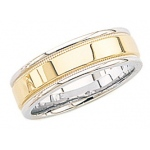 14k 2-Tone Gold Wedding Band with Milgrain 7mm: Size 5