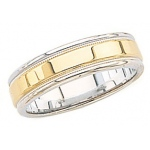 14k 2-Tone Gold Wedding Band with Milgrain 6mm: Size 4