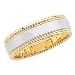 14k 2-Tone Gold Wedding Band with Milgrain & Brushed Center 7mm: Size 4.5