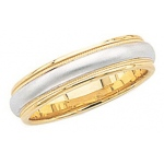 14k 2-Tone Gold Wedding Band with Milgrain & Brushed Center 6mm: Size 7