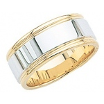 14k 2-Tone Gold Wedding Band with Milgrain & Brushed Center 8.5mm: Size 5
