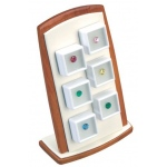 6-Gem Display with Magnet Stand: Beechwood/Off-White