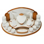 17 Pieces Jewelry Display Set: Cream/Beechwood