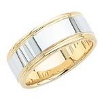 14k 2-Tone Gold Wedding Band with Milgrain 8mm: Size 4