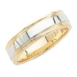 14k 2-Tone Gold Wedding Band with Milgrain 6mm: Size 11