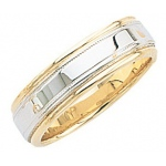 14k 2-Tone Gold Wedding Band with Light Milgrain 7mm: Size 11.5