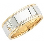 14k 2-Tone Gold Wedding Band with Light Milgrain 8.5mm: Size 11.5