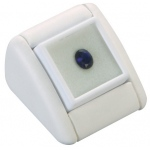 Display with Gem Jar: White Leather, Single