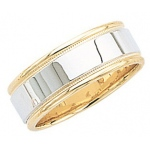 14k 2-Tone Gold Wedding Band with Light Milgrain 7mm: Size 8