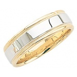 14k 2-Tone Gold Wedding Band with Light Milgrain 6mm: Size 10
