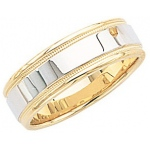 14k 2-Tone Gold Wedding Band with Light Milgrain 6mm: Size 12