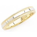 14k 2-Tone Gold Wedding Band with Light Milgrain 4mm: Size 13