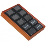 "Tray for 10 Rectangle Jars: Beechwood/Black, for 2"" x 1"" Glass Top Boxes"