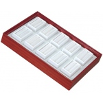 "Tray for 10 Rectangle Jars: Cherry/White, for 2"" x 1"" Glass Top Boxes"
