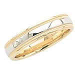 14k 2-Tone Gold Wedding Band with Light Milgrain 5mm: Size 4