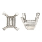 14k White Emerald Cut Setting No Peg: 6.0mm x 4.0mm