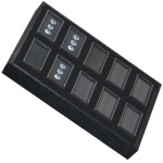 "Tray for 10 Rectangle Gem Jars: Black/Black, Used for 2"" x 1"" Glass Top Boxes"