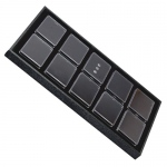 "Tray for 10 Rectangle Gem Jars: Black/Black, Used for 3"" x 2.25"" Plastic Gem Boxes"