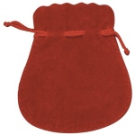 "Red Suede Pouch: 5"" x 5.5"", Pack of 10"