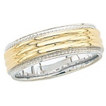14k 2-Tone Gold Wedding Band with Milgrain Edge 7mm: Size 11.5