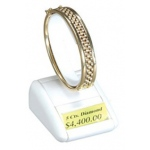 1-Bangle/Watch Display with Window Slots: White Leather