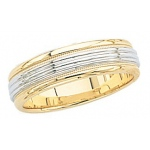 14k 2-Tone Gold Wedding Band with Milgrain 6mm: Size 6.5