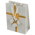 "White Tote Bag with Gold Bow: 3"" x 2"" x 10"", Pack of 10"