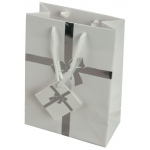 "White Tote Bag with Silver Bow: 5"" x 2.25"" x 6"", Pack of 10"