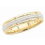 14k 2-Tone Gold Wedding Band with Double Milgrain 5mm: Size 13