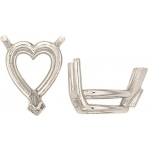 14k White Heart Shape 3-Prong Double Wire Setting: Size 14.5mm x 14.5mm