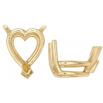 14k Yellow Heart Shape 3-Prong Double Wire Setting: Size 12.0mm x 12.0mm