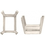 14k White, Emerald Cut Double Wire with Flat Prongs: Size 7.0mm x 5.0mm